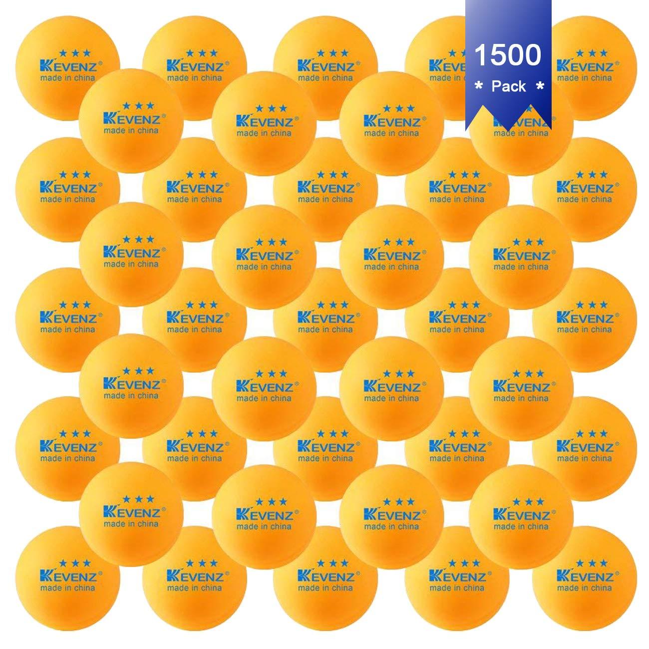KEVENZ 1500-Pack 3-Star 40+ Orange Table Tennis Balls Wholesale,Advanced Training Ping Pong Balls Bulk Sale (Orange)