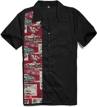 Candow Look Hombres Retro Camisa Negro&Printed Vintage Ropa
