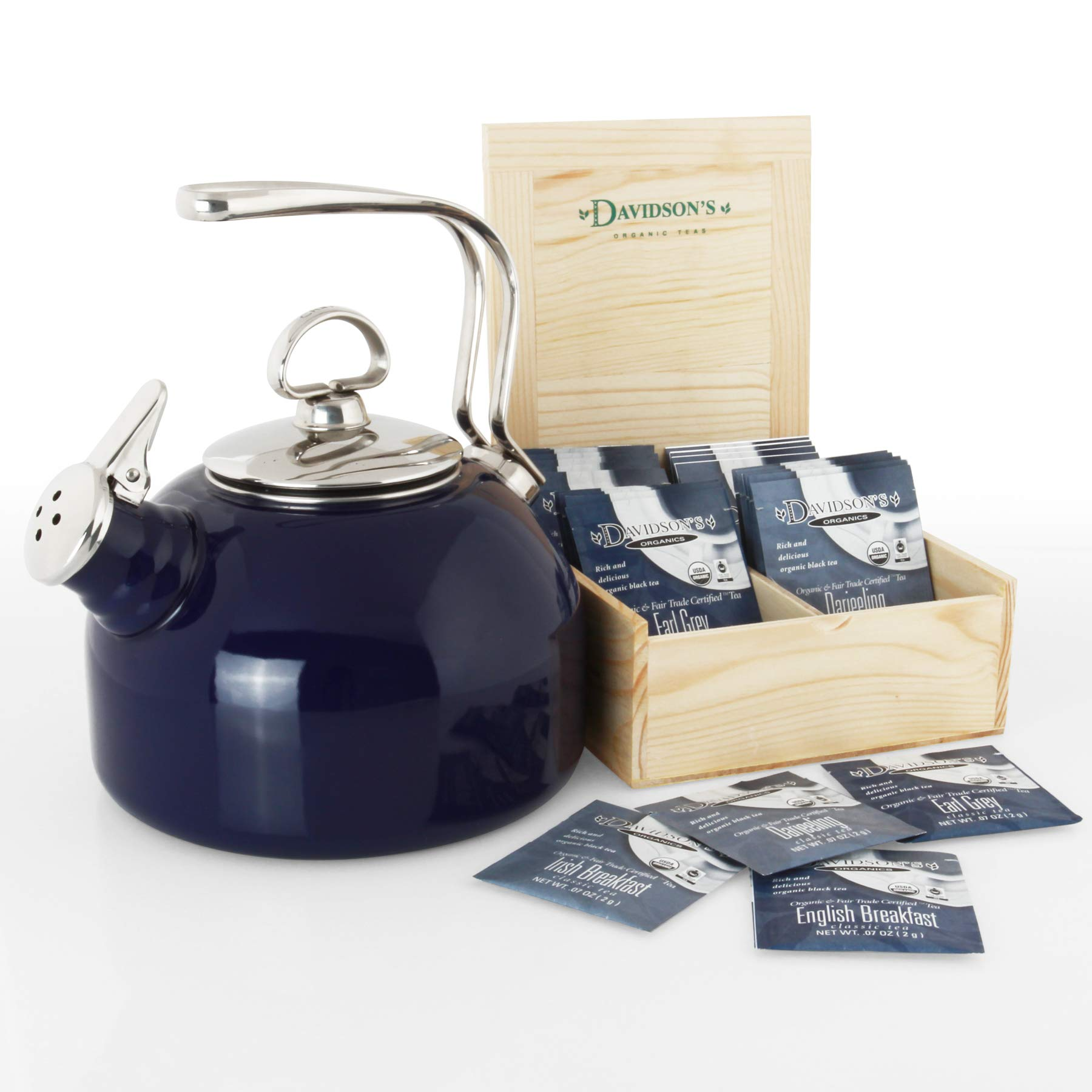 Chantal 37-18S BL Classic Teakettle with free Davidsons Tea Gift Box 1.8 Qt Cobalt Blue