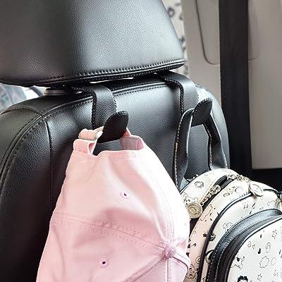 Car Hooks Universal Car Vehicle Back Seat Headrest Hanger Holder Hook Microfiber Leather & Stainless Steel for Bag Purse Cloth Drink Grocery (Black): Automotive