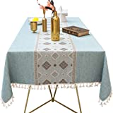 Lamberia Cotton Linen Tablecloths for Rectangle Tables Heavyweight Burlap Table Cover for Kitchen Dinning Tabletop…