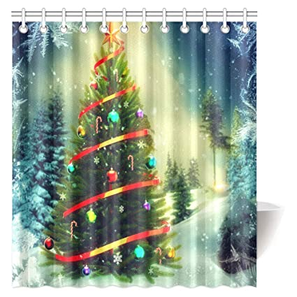 InterestPrint Christmas Decorations Shower Curtain Merry Themed House Decor Popular New Year Ornaments And