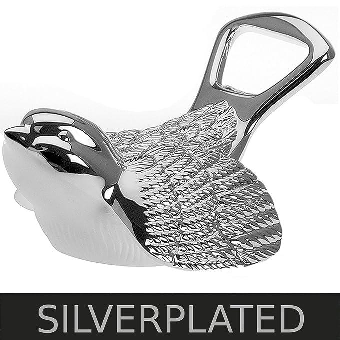 Flaschenöffner Kapselheber Spatz 9x6x4,5 cm Silber Plated versilbert ...