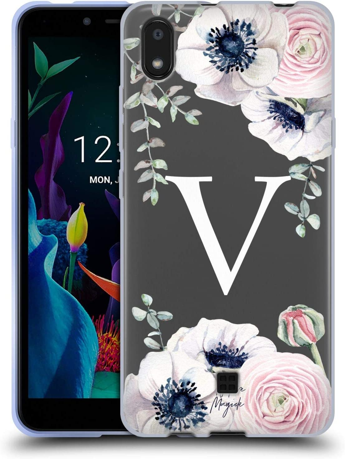 Head Case Designs Officially Licensed Nature Magick Letter V Watercolour Flower Monogram 2 Soft Gel Case Compatible with LG K20 (2019)