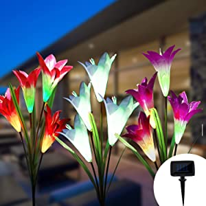 LED Solar Flower Garden Lights Outdoor, Solar Garden Stake lights, Decorative Solar lights Outdoor, 3-Pack, Fairy Lily for Thanksgiving Day Christmas Patio Lawn Yard Landscape Pathway Walkway Backyard