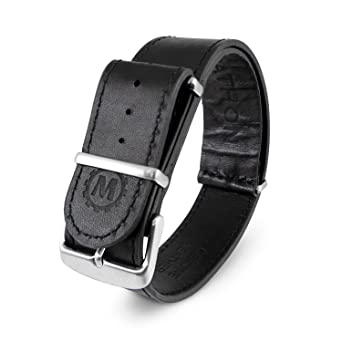 f3ededabe20 Marathon WW005009BK Leather NATO Watch Band (20 mm