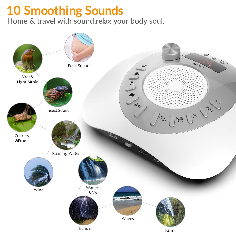Máquina de ruido blanco, LATOW Womb Sound Machine para bebé durmiendo, terapia de sueño portátil 10 sonidos sin bucle para el bebé Oficina en casa y viajes, ...