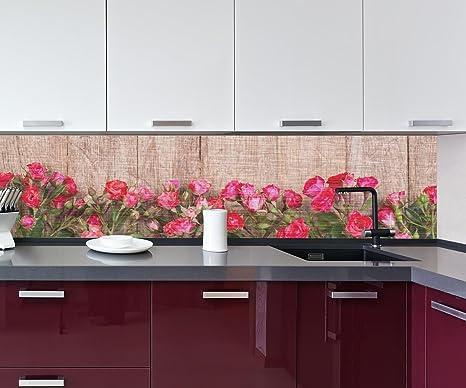 retrocucina muro Rose rosse su tavola di legno Design M1025 260 x 60 ...