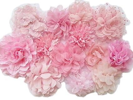 YYCRAFT 10pcs Pink Chiffon Flower for Girls Headband Baby Flowers BowsCraftsParty Decoration(3-4.5)