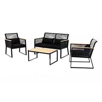 Amazon.de: Sitzgruppe Barcelona 4tlg schwarz Loungemöbel Gartenset ...