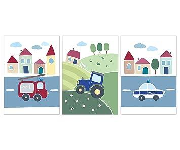 Lalelu Prints Kinderzimmer Bilder Set Fahrzeuge Din A4 I Babyzimmer Deko Junge Baby I Traktor Bagger Polizei Feuerwehr Fahrzeuge Wandbilder Poster