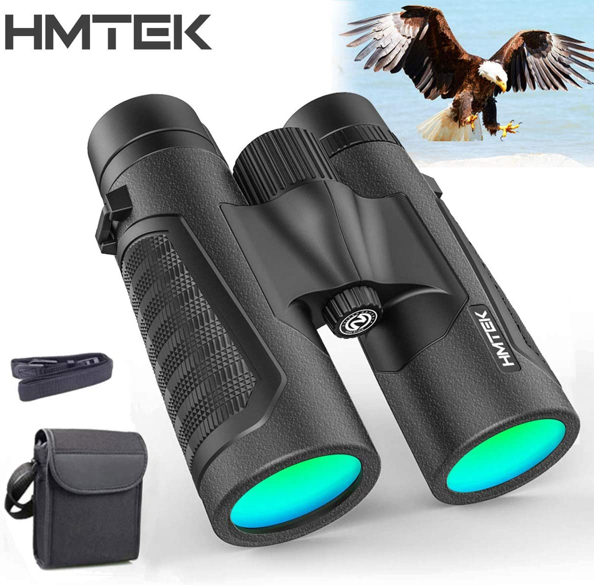 Hmtek 12×42 Binoculars for Adults – 18mm Large View Eyepiece – 16.5mm Super Bright BAK4 Prism FMC Lens – HD Professional Binoculars with Carrying Bag for Birds Watching Hunting Stargazing Concert