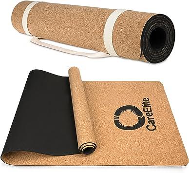 Esterilla de corcho para yoga | Esterilla de yoga con correa de algodón | Alfombrilla para