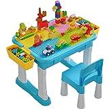 burgkidz Barnbord Och Stolssats, 135 St Stora Byggstenar Kompatibla Tegelbord Med Hållbar Konstruktionsplatta, Stort…