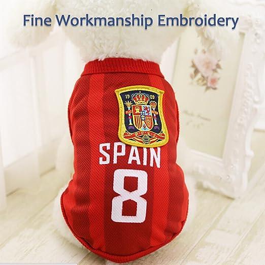 Amazon.com : Trajes Perro Disfraz Gato Ropa para Perros Camiseta Fútbol Copa del Mundo FIFA Copa de Europa Jersey acariciar : Pet Supplies