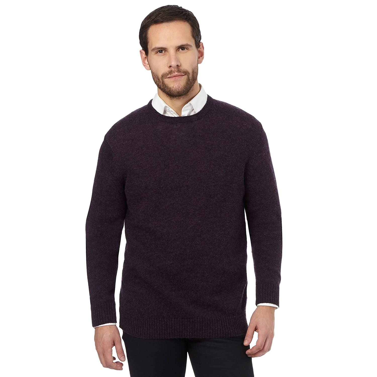The Collection Mens Big And Tall Purple Ribbed Trim Lambswool Blend Jumper