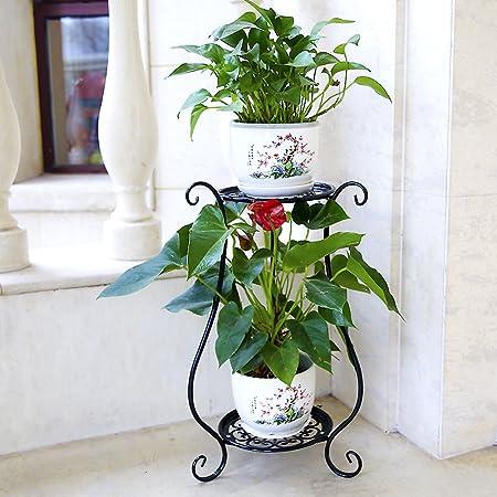 Soporte de la planta Maceta de macetero,Hierro forjado Metálico 100% Diseño de la bandeja Libre estante de flor permanentes Multicapa Pérgola El balcón Piso Sala de estar Interior Aire libre-L H:60cm(24inch): Amazon.es: