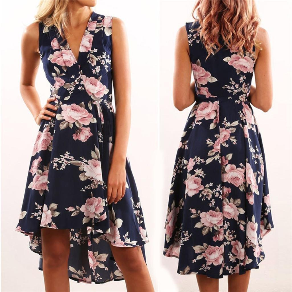 Gotd Women Summer Off Shoulder Floral Irregular Short Mini Dress Ladies Beach Party Dresses (Dark Blue, S)