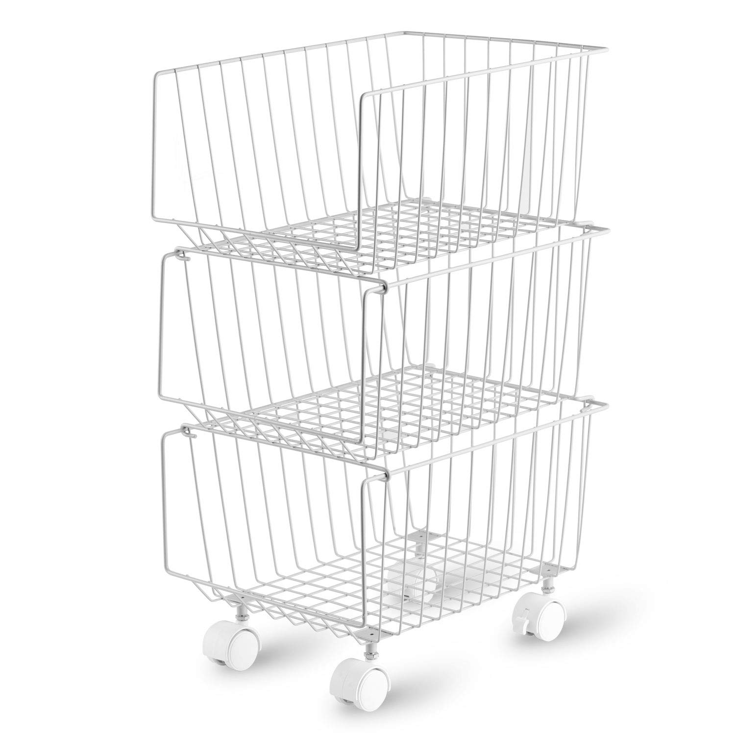 Rolling Stackable Storage Bin, Modern 3 Tiers Basket with Pre-Installed Casters, Utility Storage Organizer for Pantry, Closets, Bedrooms(Gray)