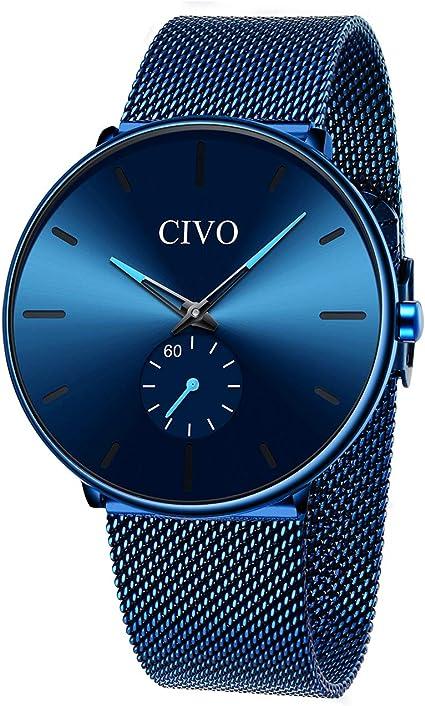 Relojes para Hombre Azul Acero Inoxidable Resistente al Agua Malla Reloj Simple de diseño analógico Cuarzo Elegante Reloj para Hombre Business Classic Vestido Hombre Relojes para Hombres: Amazon.es: Relojes