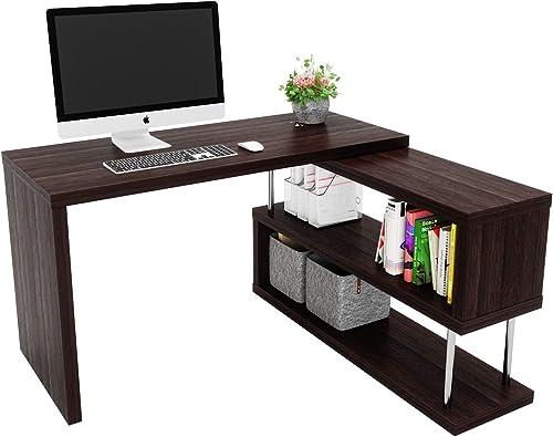 Bestier Rotating L Shaped Computer Desk 51″ Large Corner Office Desk