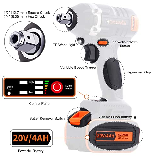 Cordless Impact Wrench – GOXAWEE 20V Electric Impact Driver 4.0Ah Battery, Brushless Motor, 1 2 1 4 Inch Quick Chuck, 2-Speed, Tool Bag – High Torque Impact Kit for Home DIY Project