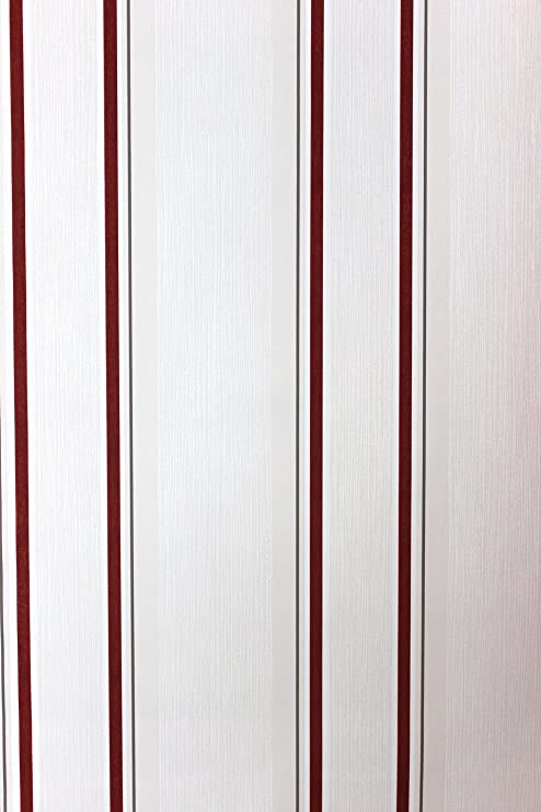Vlies Tapete Steifen Muster Creme Weiß Rot Grau 18561 Amazon De