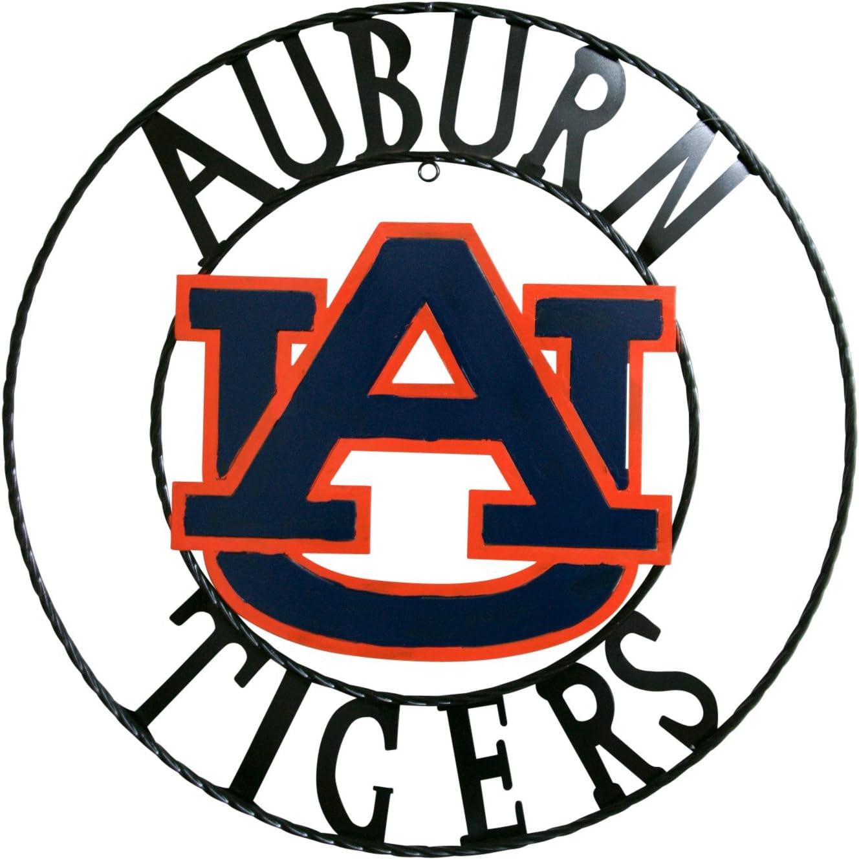 NCAA Auburn Tigers Licensed Collegiate Wrought Iron Wall Decor, Orange/Blue, 24