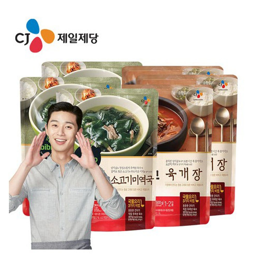 [ 6 Packs ] Korean Bibigo Seaweed Soup 500g x 3 미역국 + hot spicy meat stew 500g x 3 육개장