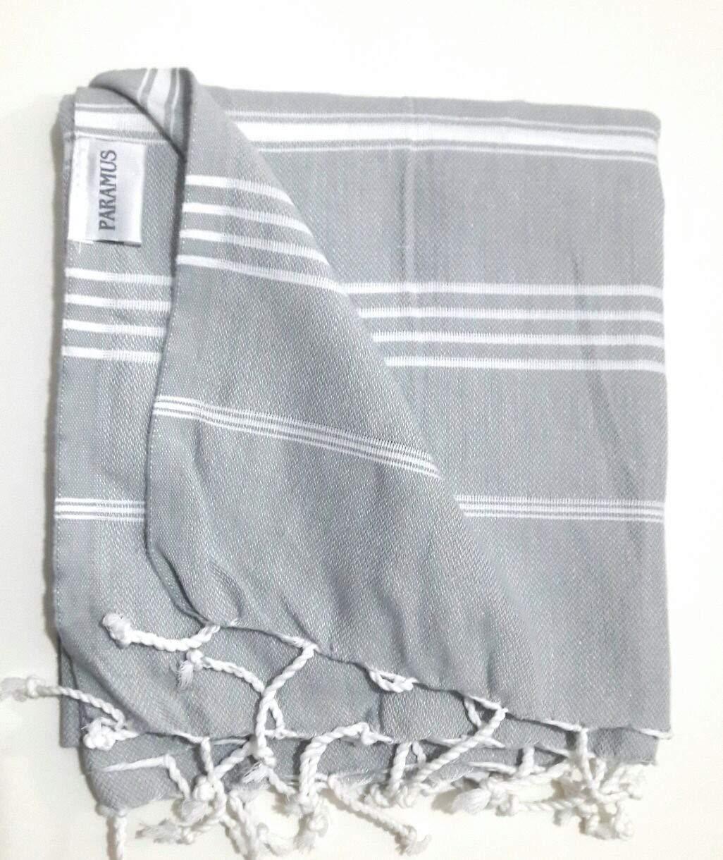 Paramus Turkish Towel Peshtemal in 100% Cotton for Beach Bath Swimming Pool Yoga Pilates Picnic Blanket Scarf Wrap Hammam Fouta Turkish Bath Towels Beach Towel (37x 70) (Blue, hierapolis)