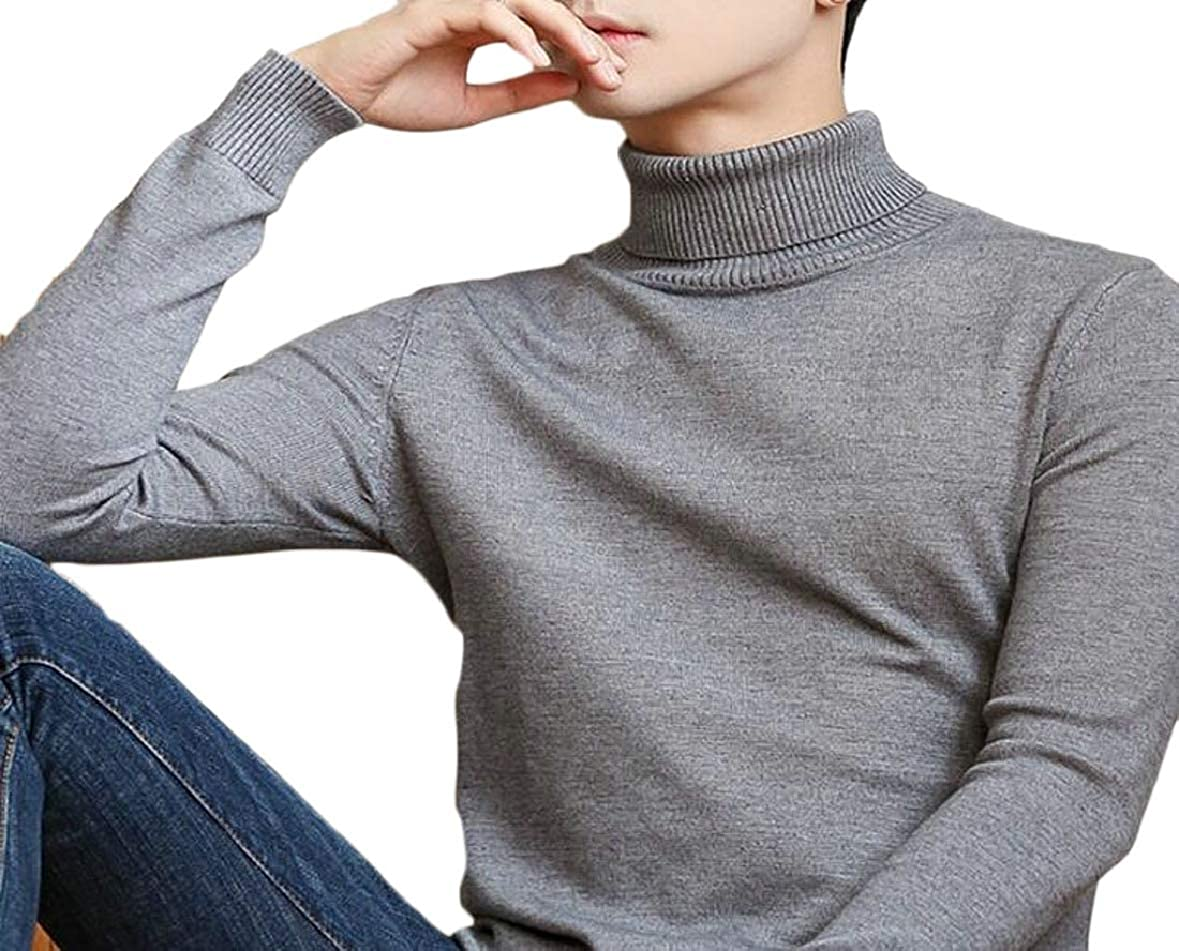 xtsrkbg Mens Pullover Vintage Long Sleeve Slim High Neck Knit Sweater