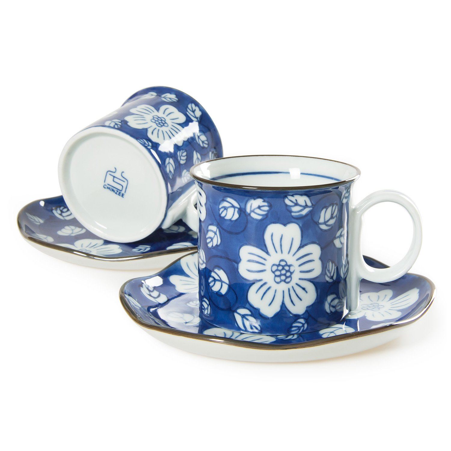 CHINZEE Coffee Cups & Saucers Porcelain Mugs Set of 2 - Wedding Gifts Birthday Present Mothers Day Gift Box
