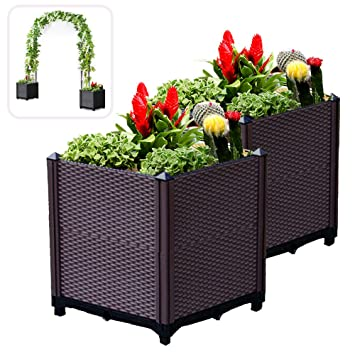 Lejoy 2 Set Square Planter Boxes 15 7 Extra Strength Plastic Coffee