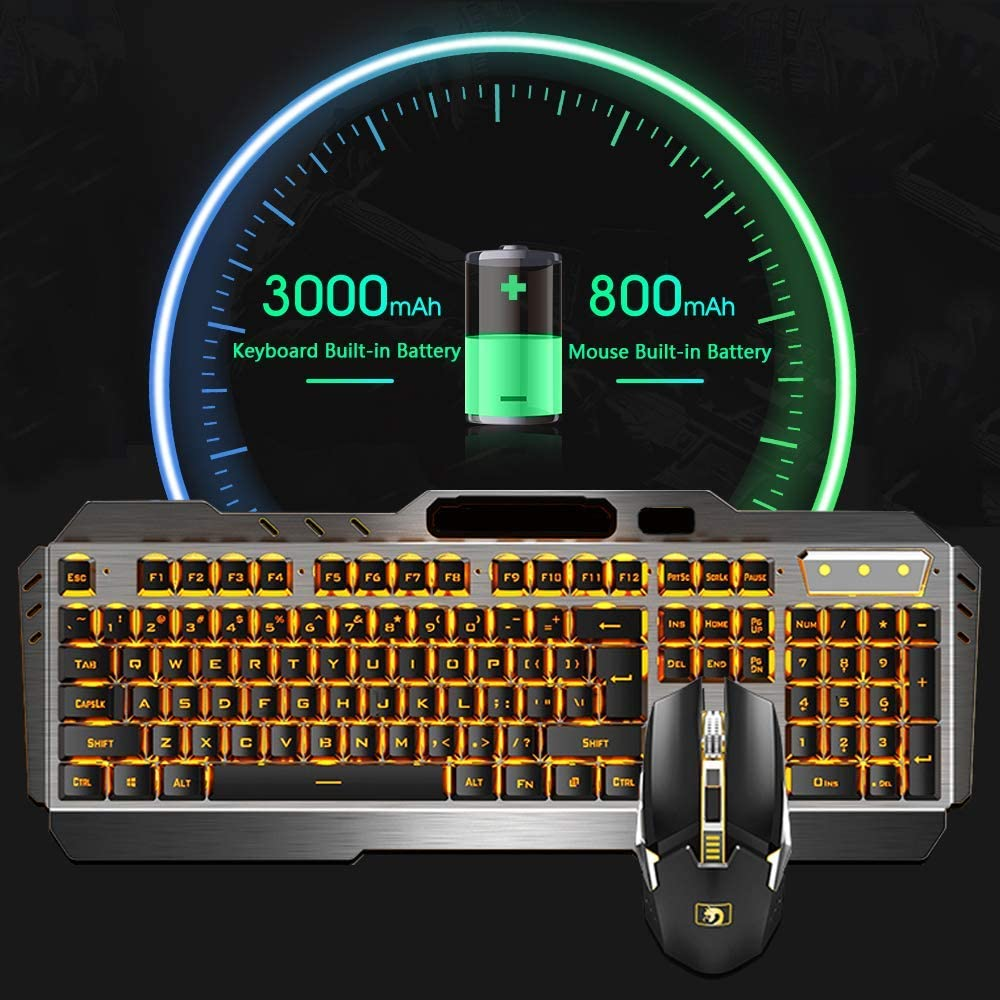Wireless USB Notebook Mechanical Keyboard QOUP Backlit Keyboard and Mouse Set Signal Enhancement//About 10 Meters Transmission Notebook Home