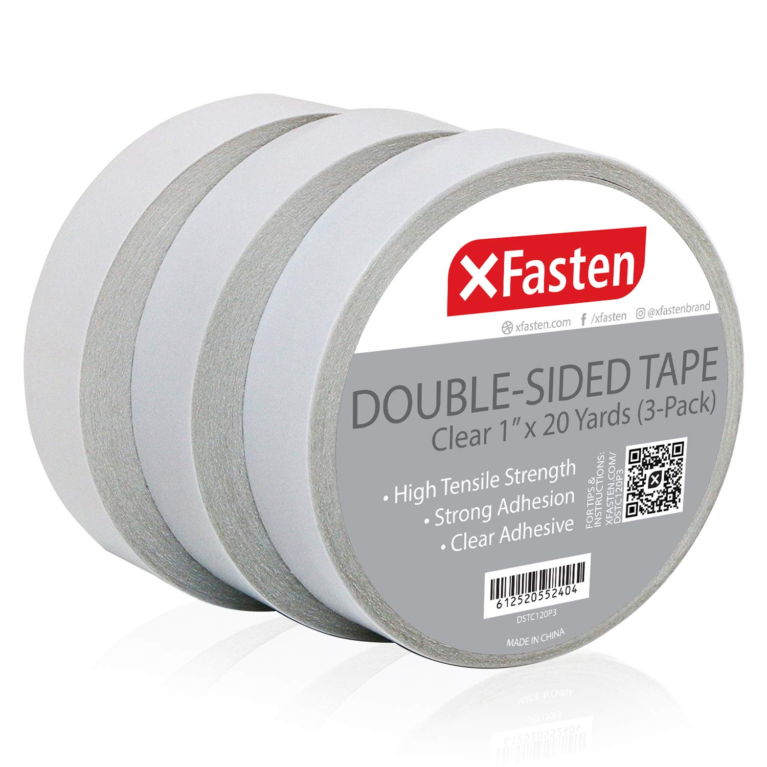 XFasten Double Sided Tape Clear, Removable, 1-Inch by 20-Yards, Pack of 3 Ideal as a Gift Wrap Tape, Holding Carpets, and Woodworking by XFasten