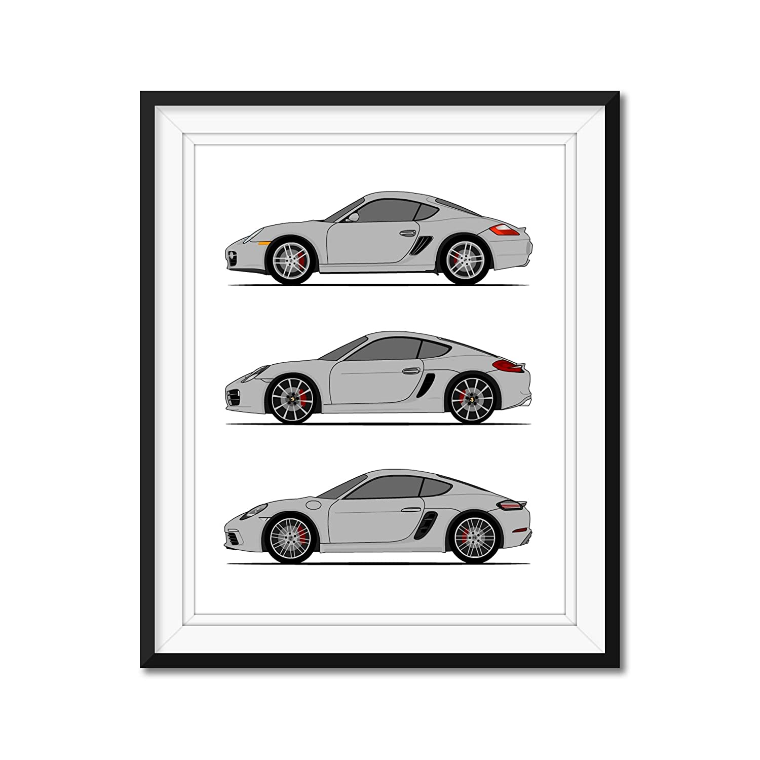 in Color Poster Inspired by Porsche Cayman Poster Print Handmade Wall Art of the History and Evolution of the Cayman Generations Car Models: 718//981// 987