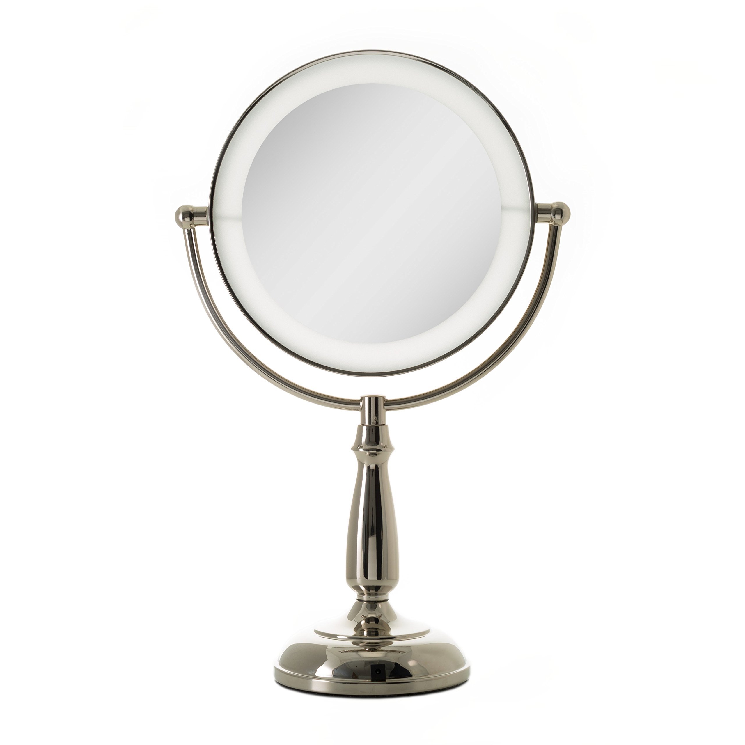 Zadro Dimmable Touch Ultra Bright Dual-Sided LED Lighted Vanity Make Up Mirror with 1X & 10X magnification in Polished Nickel Finish.
