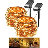 Gluckluz Solar String Lights Copper Wire Fairy Lighting Starry Warm Waterproof Decoration Lamp for Outdoor Indoor Garden Home Patio Wedding Festival Holiday Bedroom (200 LEDs, 2 Packs)