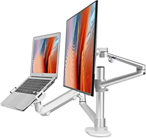 "viozon Monitor and Laptop Mount, 2-in-1 Adjustable Dual Monitor Arm Desk Stand, Single Gas Spring Arm with Laptop Tray for 12-17"" Laptop. Single Arm Stand/Holder for 17-32"" Computer Monitor(3L-proS)"