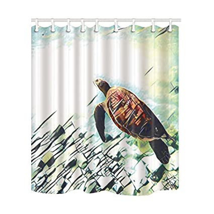 NYMB KOTOM Custom Underwater Sea Brown Turtle Shower Curtain 69X70 Inches Mildew Resistant Polyester Fabric Bathroom