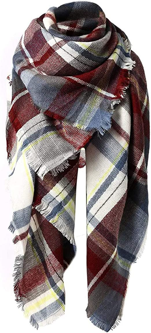 Women/'s Winter Warm Oversize Blanket High Quality Plaid Cashmere Wool Scarf Wrap
