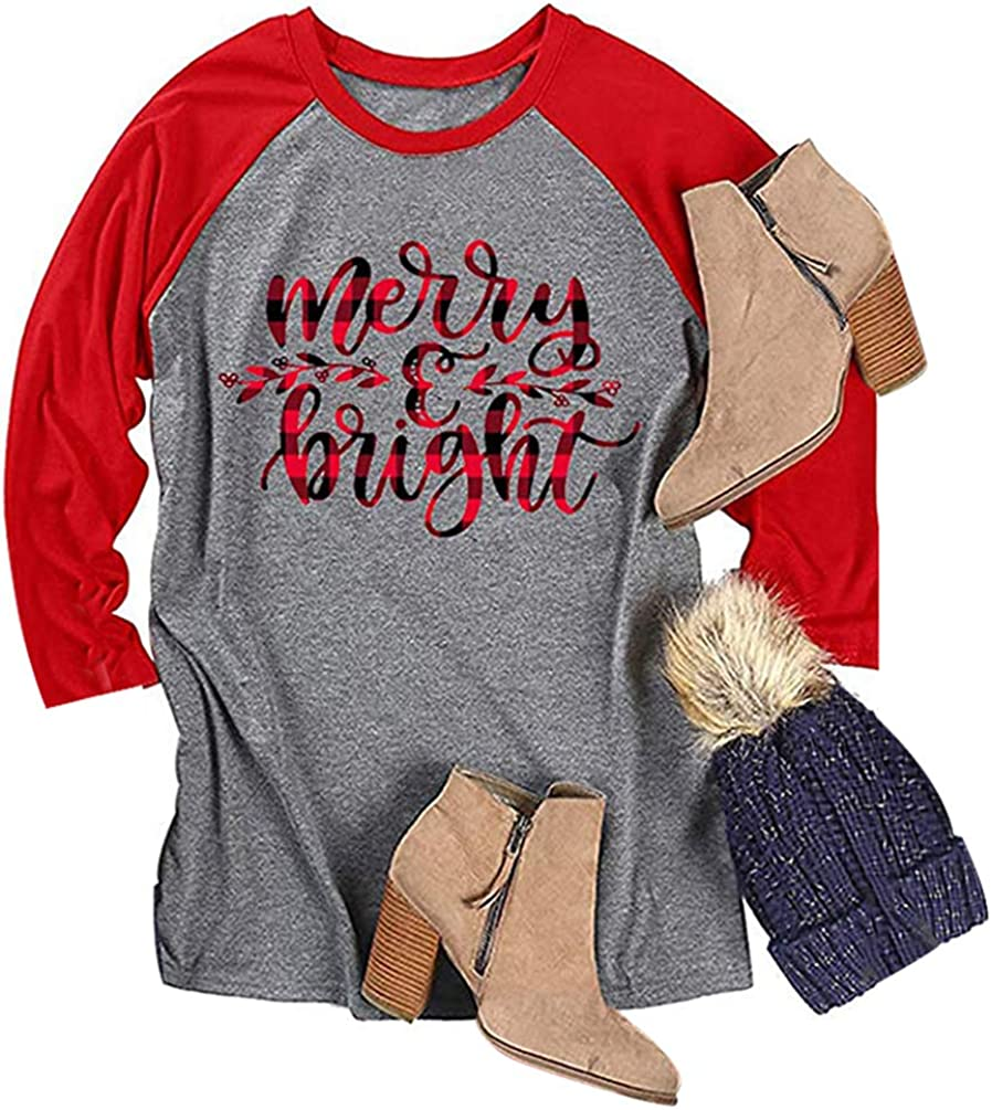 TAKEYAL Merry and Bright Letter Print Shirts Women Christmas Grid Stripe 3/4 Sleeve Top Blouses