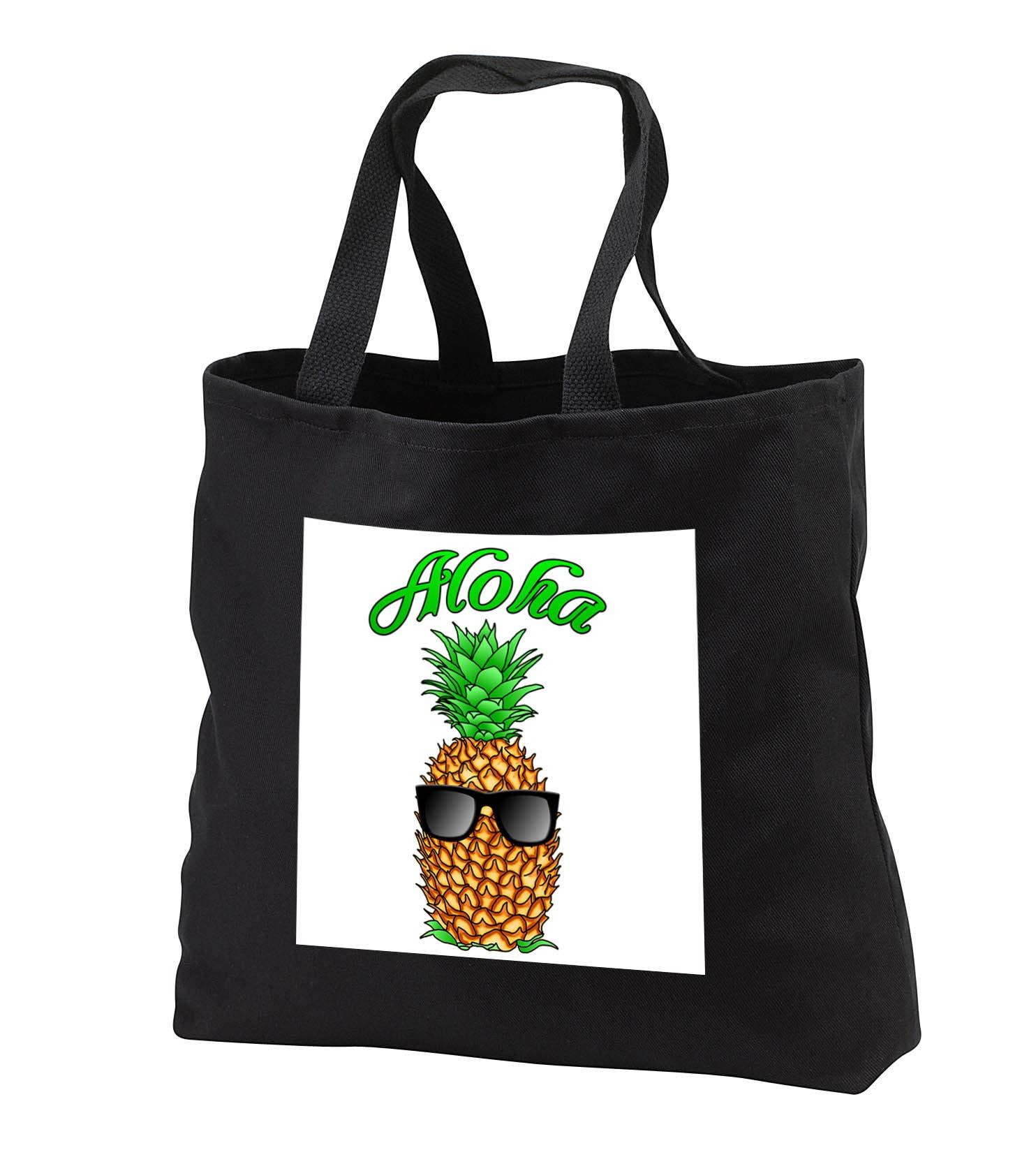 MacDonald Creative Studios - Hawaii - Aloha Hawaiian design with a fun tropical pineapple in sunglasses. - Tote Bags - Black Tote Bag 14w x 14h x 3d (tb_291833_1)