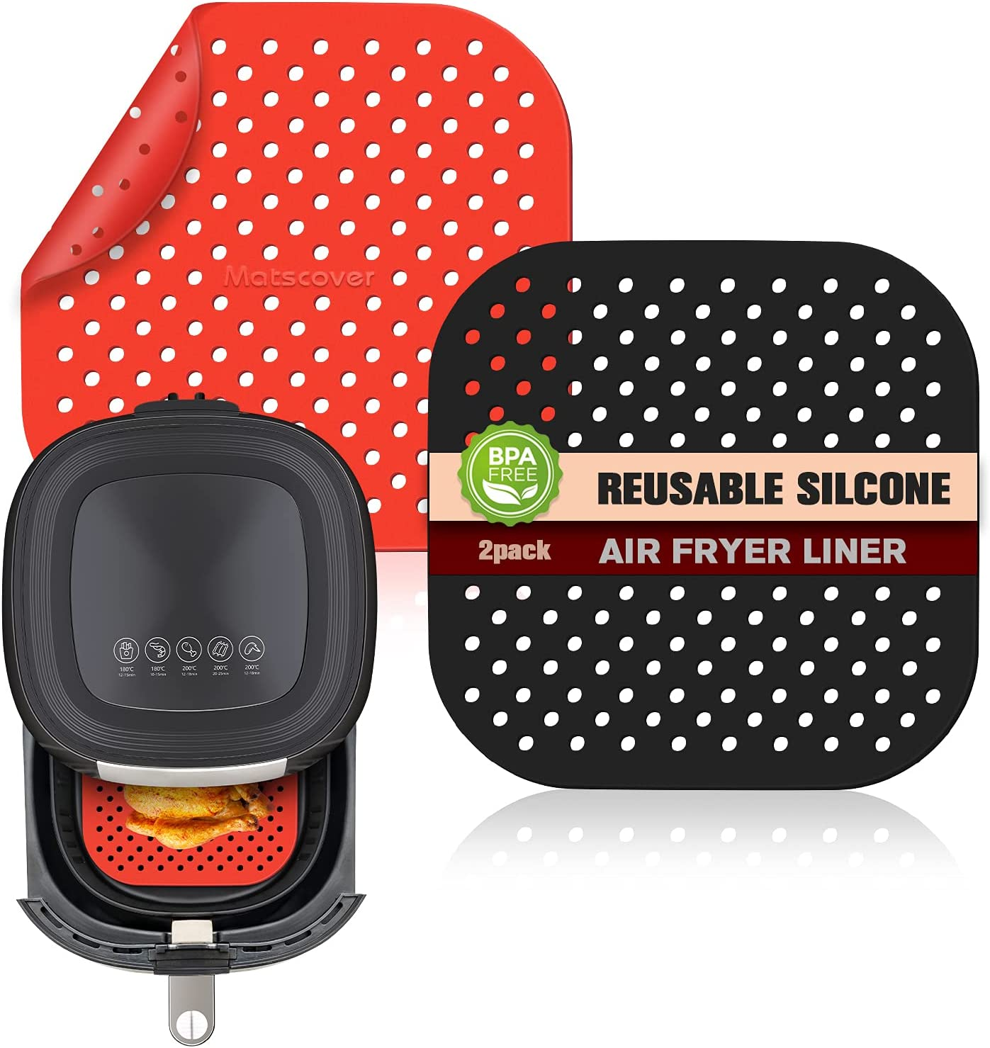 INYOU Reusable Air Fryer Liners| Non-Stick Silicone Air Fryer Accessories| Air Fryer Accessory Mats Silicone Liners 9in Square (2Pack)