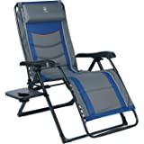 EVER ADVANCED Oversize XL Zero Gravity Recliner Padded Patio Lounger Chair with Adjustable Headrest Support 350lbs, Blue