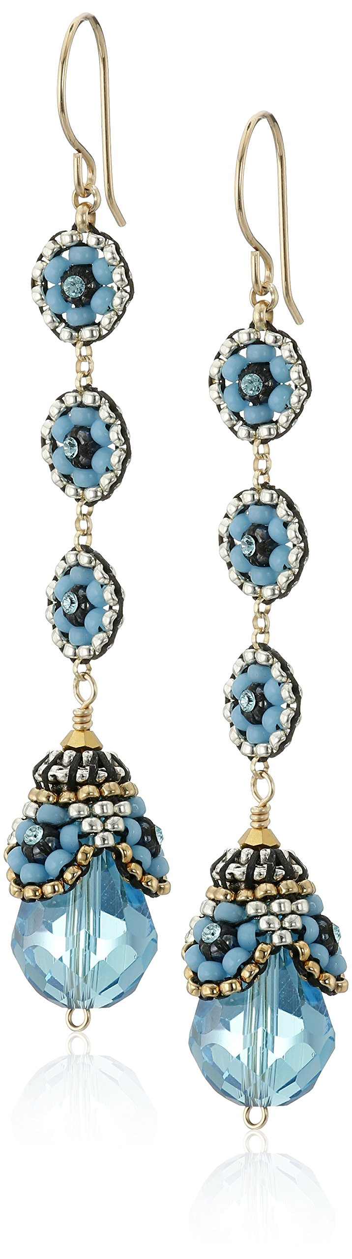Miguel Ases Blue Hydro-Quartz Egg Swarovski Three-Station Drop Earrings by Miguel Ases (Image #1)