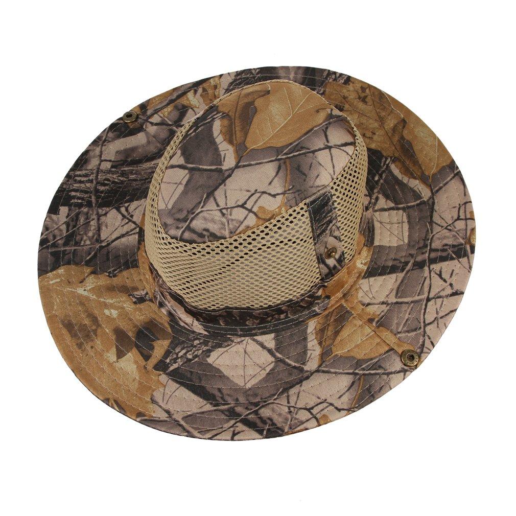 Gemvie Men Outdoor Sun Hat Cap Camouflage Bucket Mesh Boonie Hat