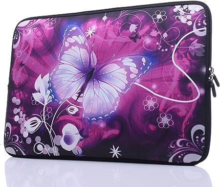 Funny Laptop Sleeve Blue Butterfly Graphic Laptop Case Portable Neoprene Laptop Handbag Five White 13inch
