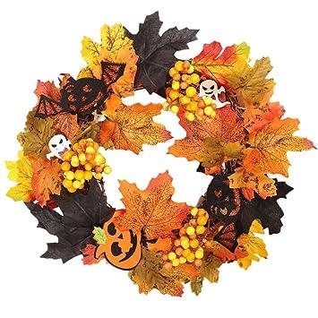 D Dolity Couronne Rotin Thème Halloween Décoration Porte Fenêtre