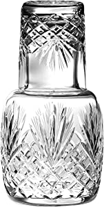 """Barski - Mouth Blown - Hand Cut - Crystal - 2 Piece Set - 25 oz Bedside Night Carafe/Desktop Carafe with Tumbler Glass - 8.25"""" H - Made in Europe"""